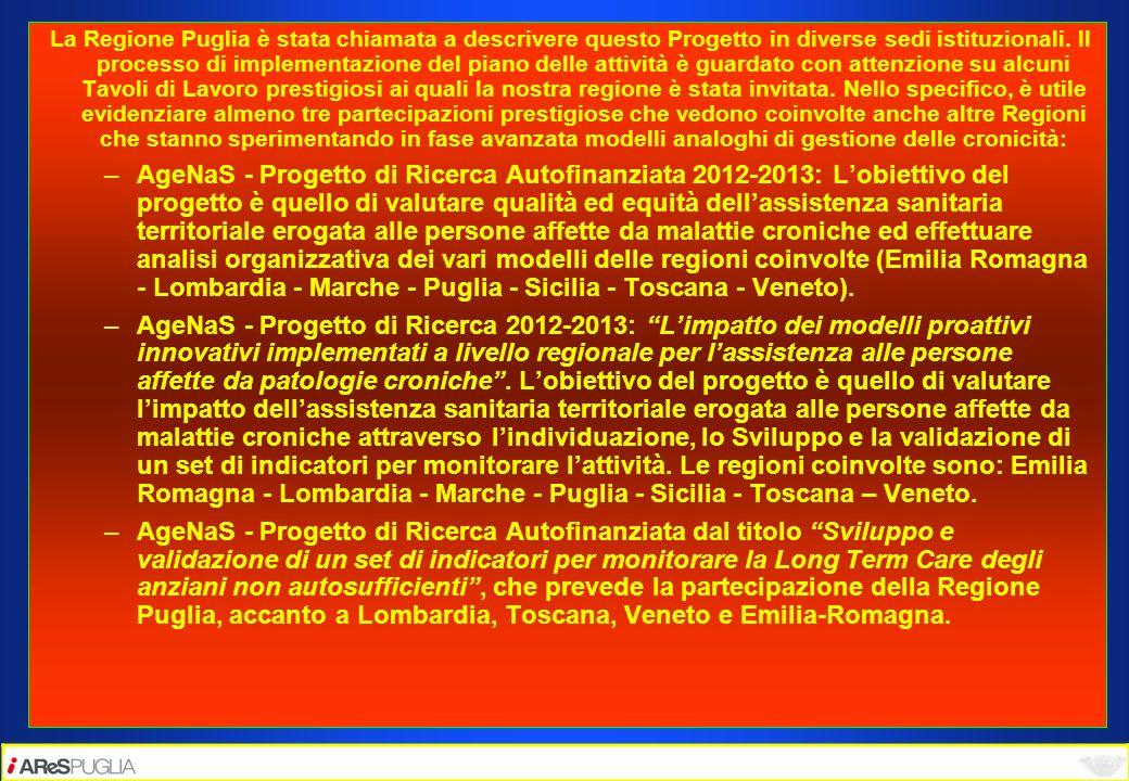 La Regione Puglia è stata chiamata a descrivere questo Progetto in diverse sedi istituzionali. Il processo di implementazione del piano delle attività è guardato con attenzione su alcuni Tavoli di Lavoro prestigiosi ai quali la nostra regione è stata invitata. Nello specifico, è utile evidenziare almeno tre partecipazioni prestigiose che vedono coinvolte anche altre Regioni che stanno sperimentando in fase avanzata modelli analoghi di gestione delle cronicità: