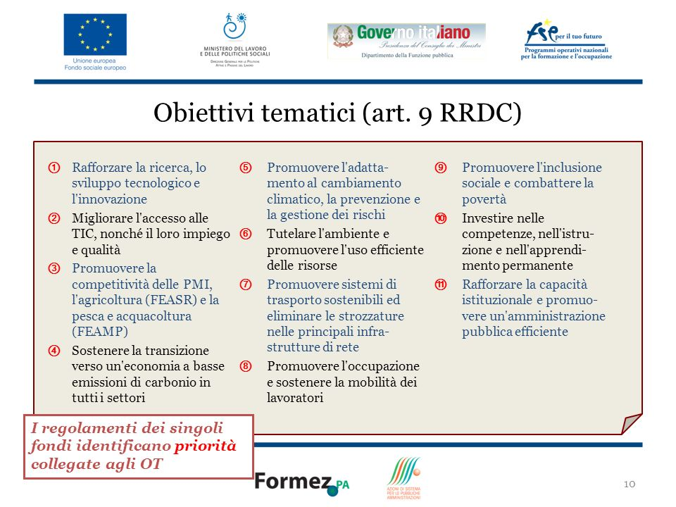 Obiettivi tematici (art. 9 RRDC)