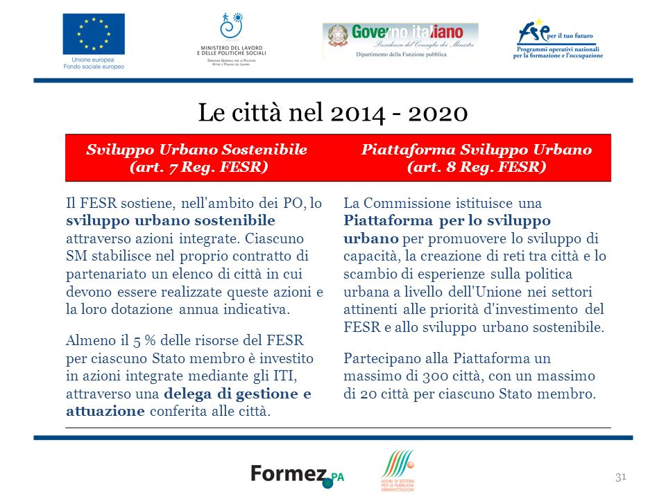 Le città nel 2014 - 2020 Sviluppo Urbano Sostenibile (art. 7 Reg. FESR) Piattaforma Sviluppo Urbano (art. 8 Reg. FESR)