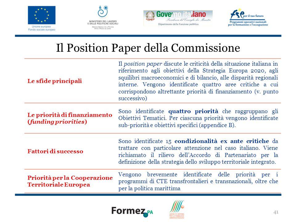 Il Position Paper della Commissione