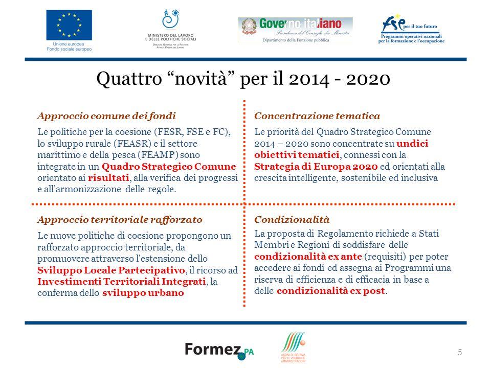 Quattro novità per il 2014 - 2020