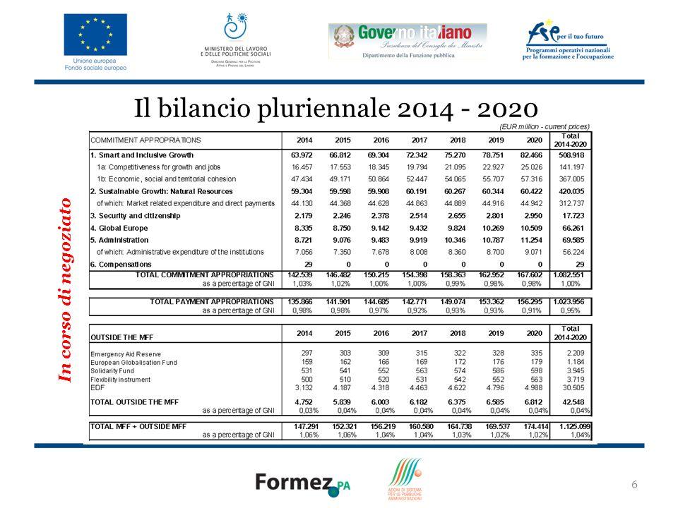 Il bilancio pluriennale 2014 - 2020
