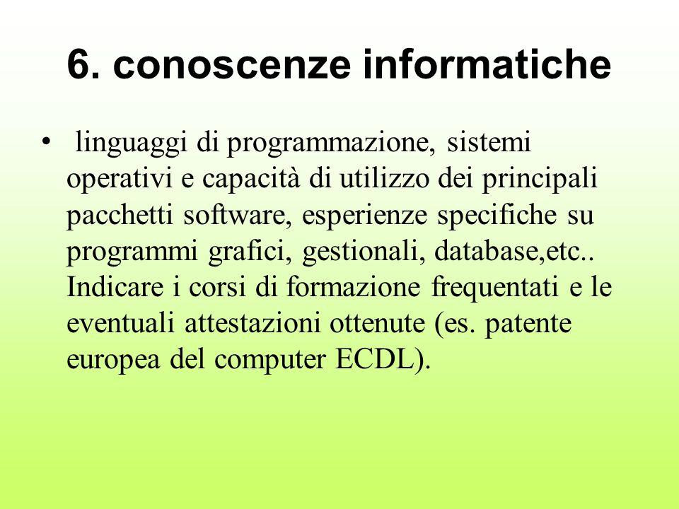 6. conoscenze informatiche