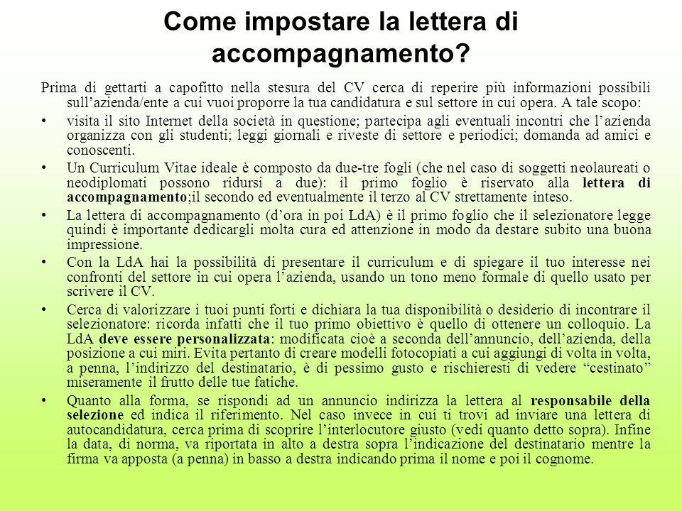 Come impostare la lettera di accompagnamento