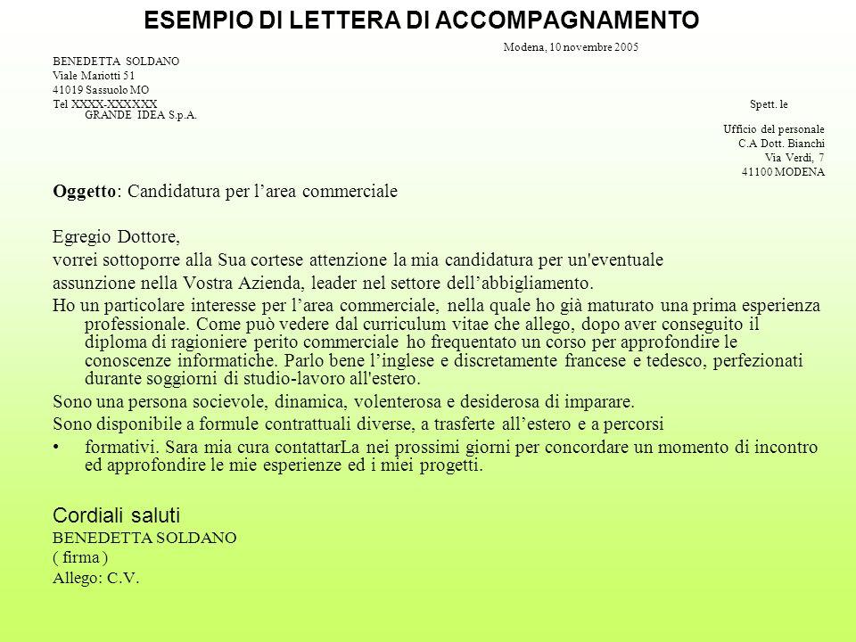 ESEMPIO DI LETTERA DI ACCOMPAGNAMENTO