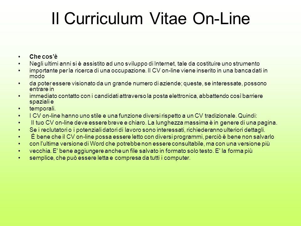 Il Curriculum Vitae On-Line