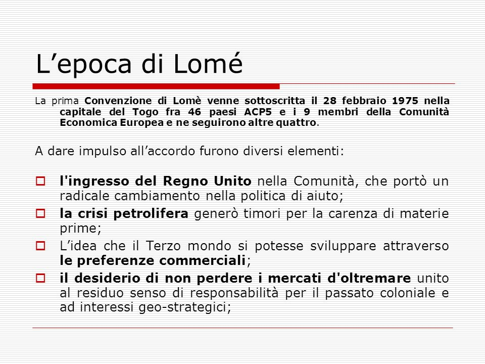 L'epoca di Lomé