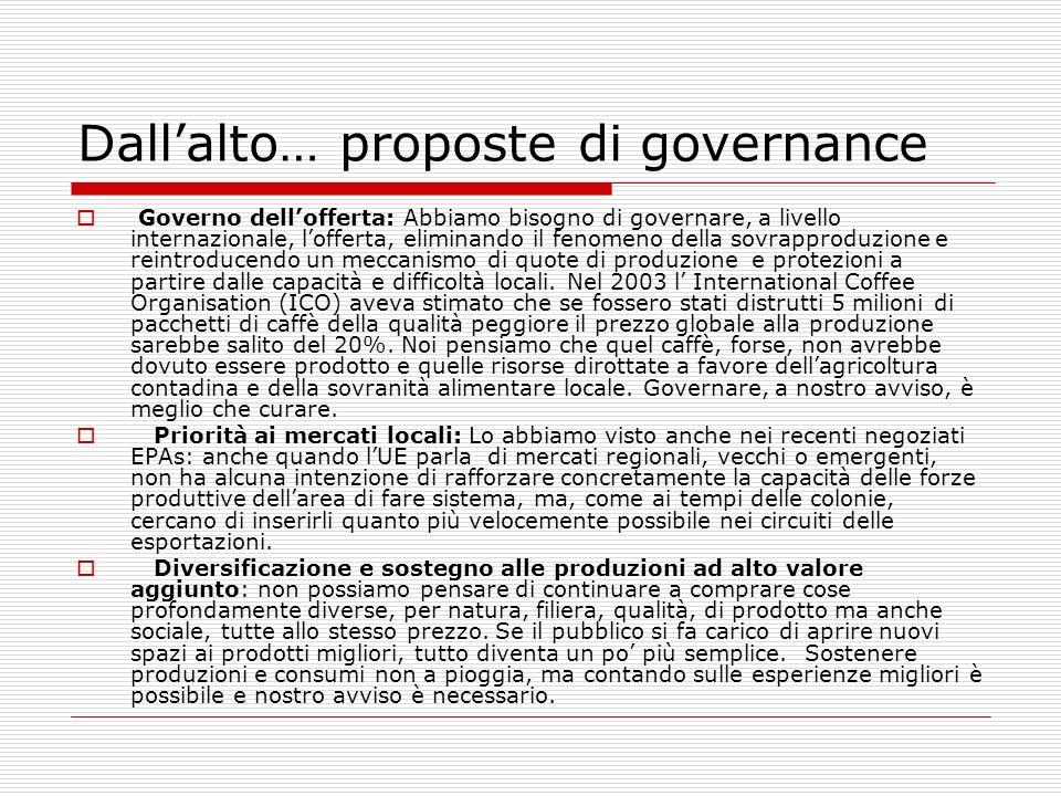 Dall'alto… proposte di governance