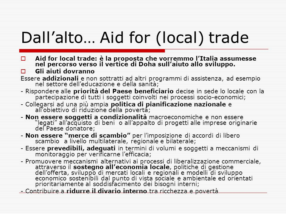 Dall'alto… Aid for (local) trade
