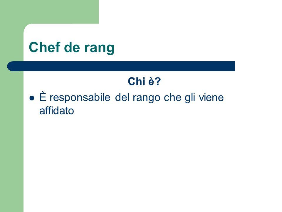 Chef de rang Chi è È responsabile del rango che gli viene affidato