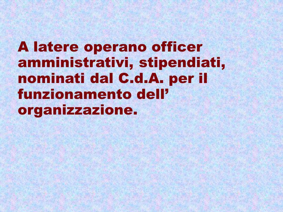 A latere operano officer amministrativi, stipendiati, nominati dal C.d.A.