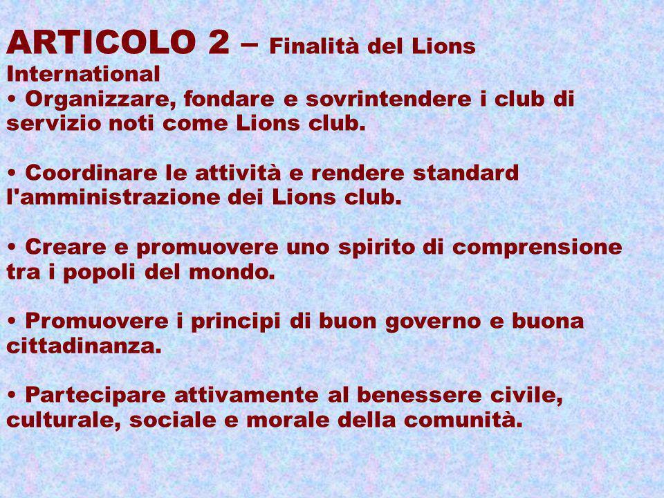 ARTICOLO 2 – Finalità del Lions International