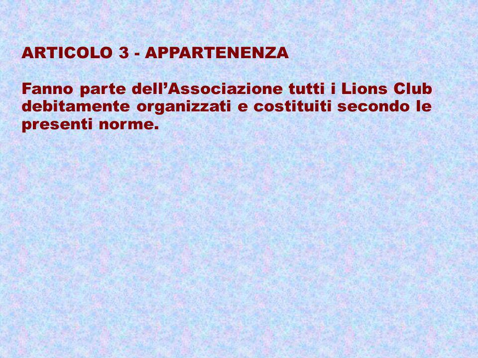 ARTICOLO 3 - APPARTENENZA