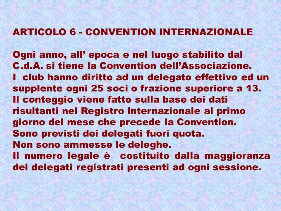 ARTICOLO 6 - CONVENTION INTERNAZIONALE