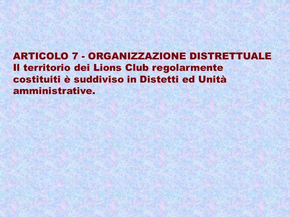 ARTICOLO 7 - ORGANIZZAZIONE DISTRETTUALE