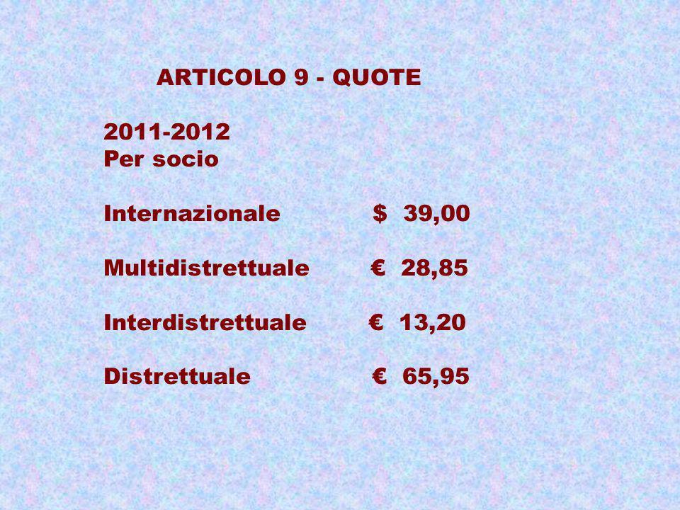 ARTICOLO 9 - QUOTE 2011-2012. Per socio. Internazionale $ 39,00. Multidistrettuale € 28,85.