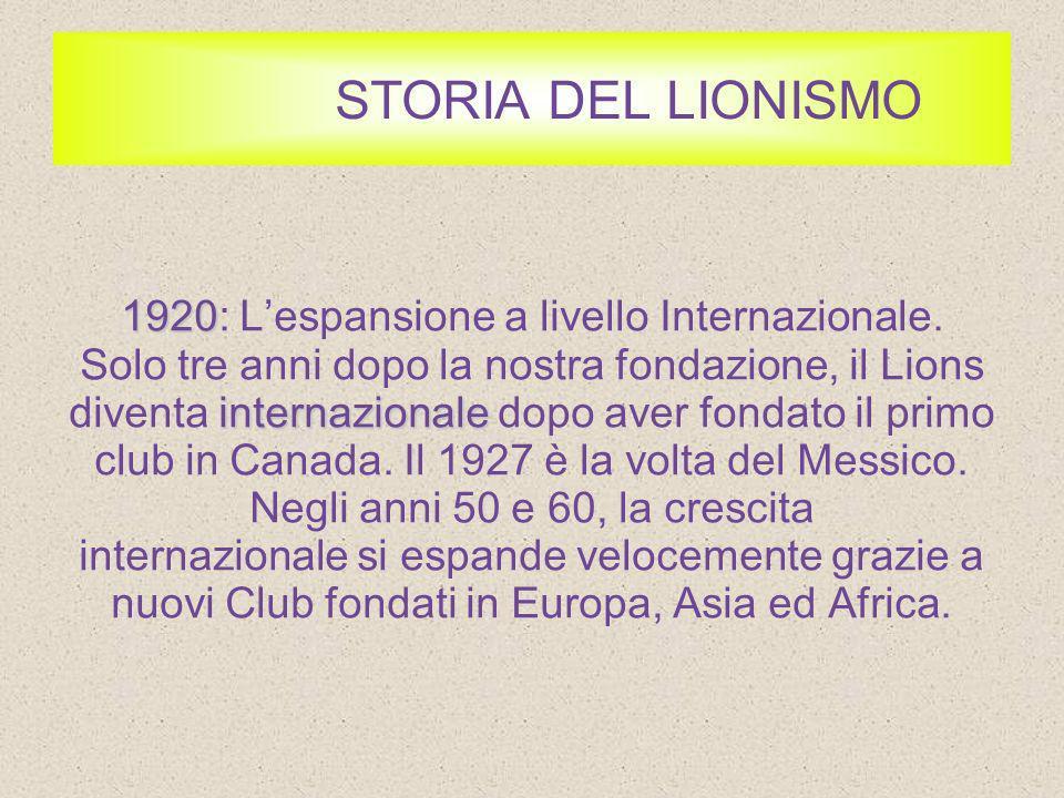 STORIA DEL LIONISMO 1920: L'espansione a livello Internazionale.