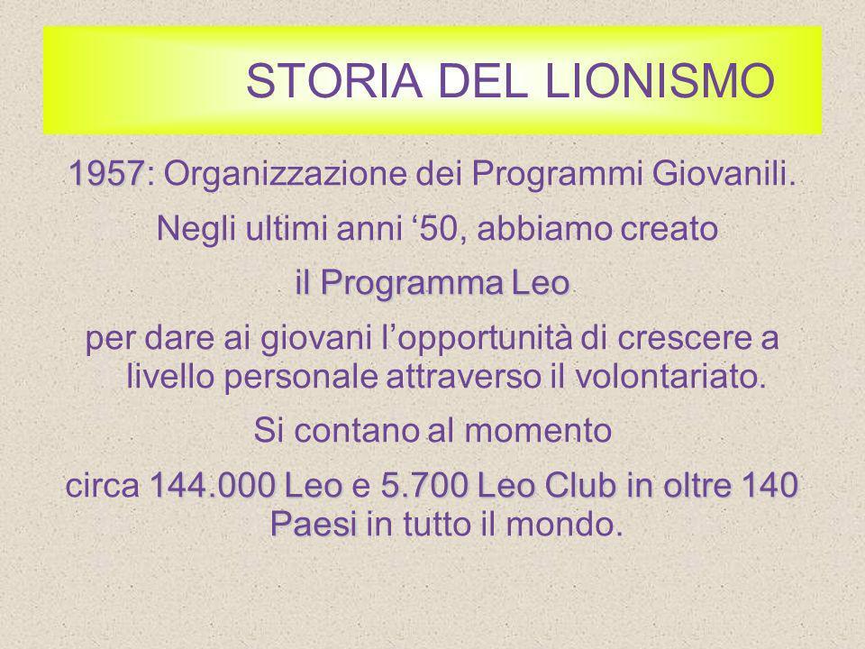STORIA DEL LIONISMO 1957: Organizzazione dei Programmi Giovanili.