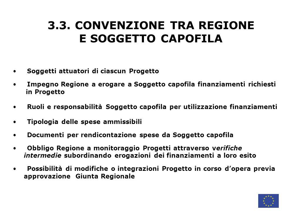 3.3. CONVENZIONE TRA REGIONE E SOGGETTO CAPOFILA