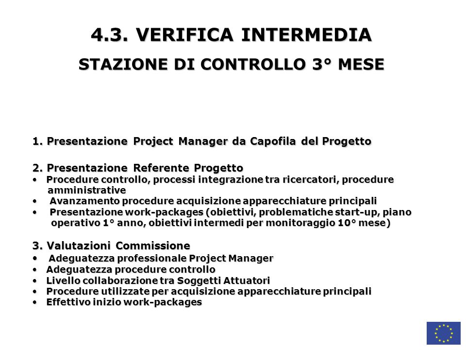 STAZIONE DI CONTROLLO 3° MESE
