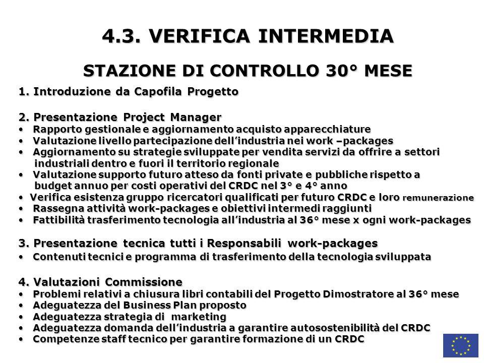 STAZIONE DI CONTROLLO 30° MESE