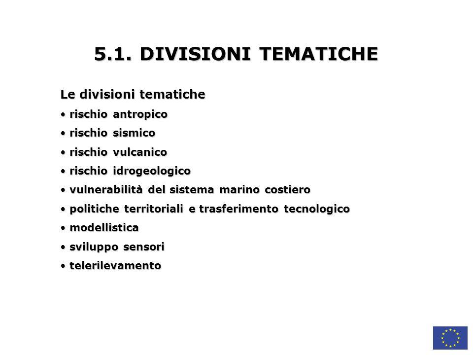 5.1. DIVISIONI TEMATICHE Le divisioni tematiche rischio antropico
