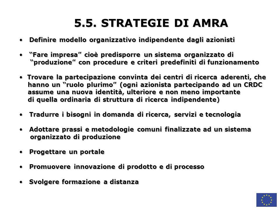 5.5. STRATEGIE DI AMRA Definire modello organizzativo indipendente dagli azionisti. Fare impresa cioè predisporre un sistema organizzato di.