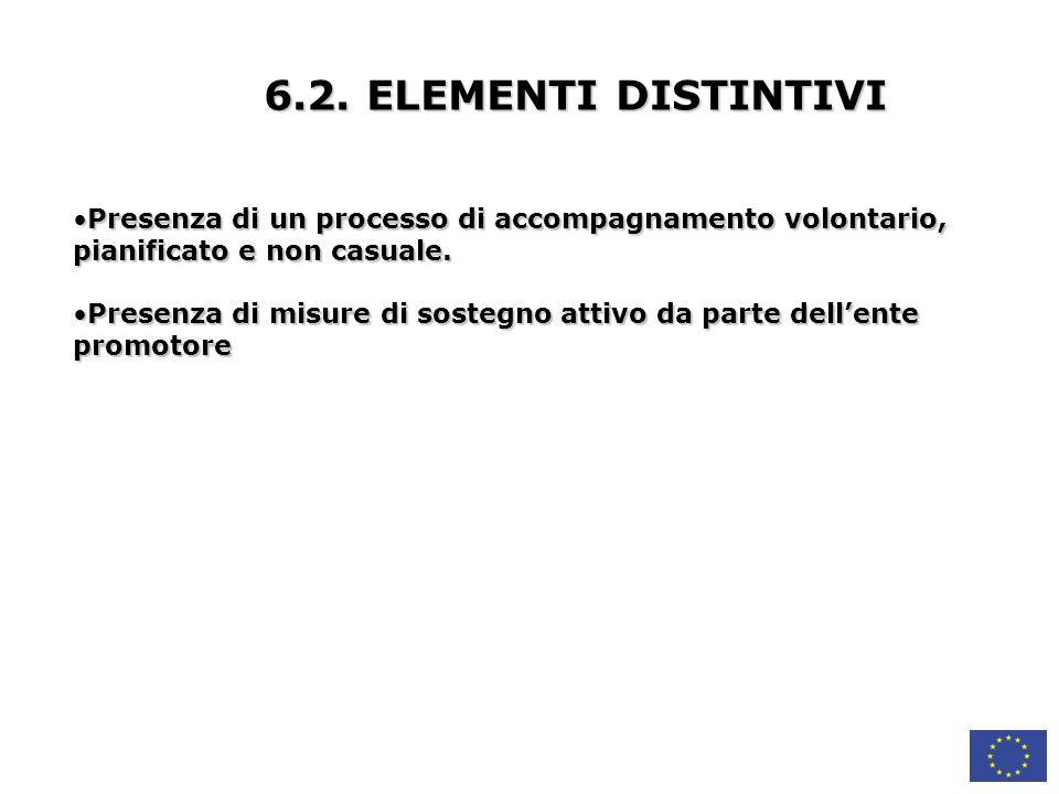 6.2. ELEMENTI DISTINTIVI Presenza di un processo di accompagnamento volontario, pianificato e non casuale.