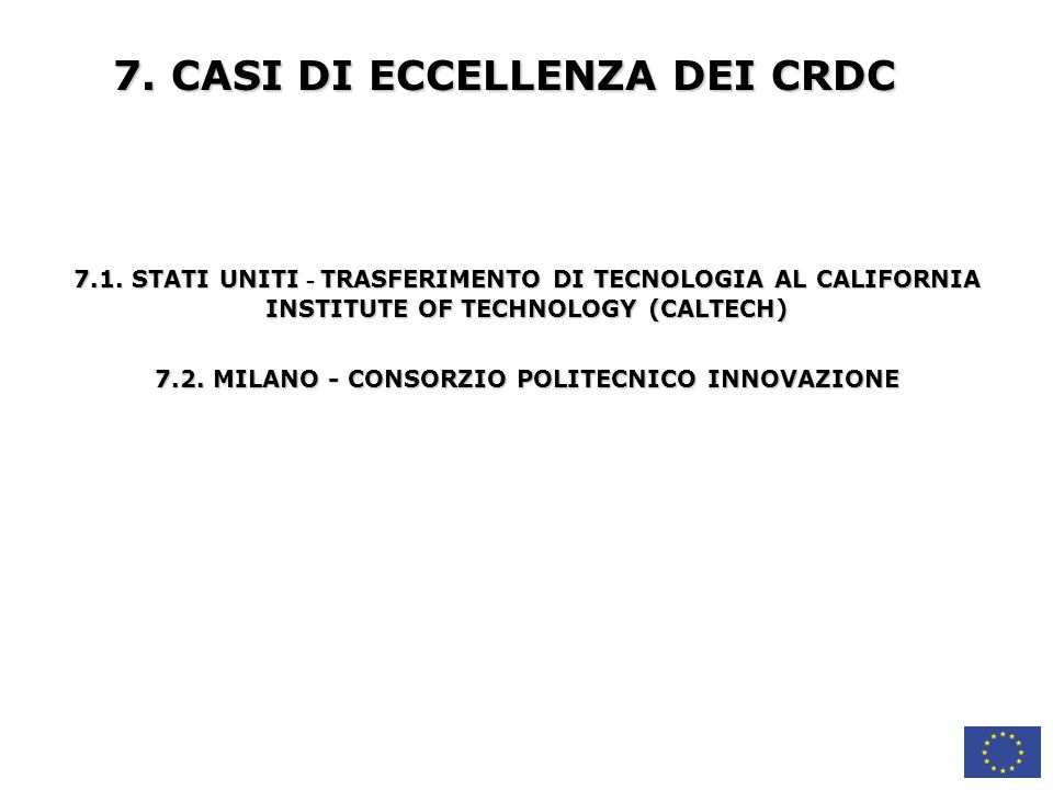 7. CASI DI ECCELLENZA DEI CRDC