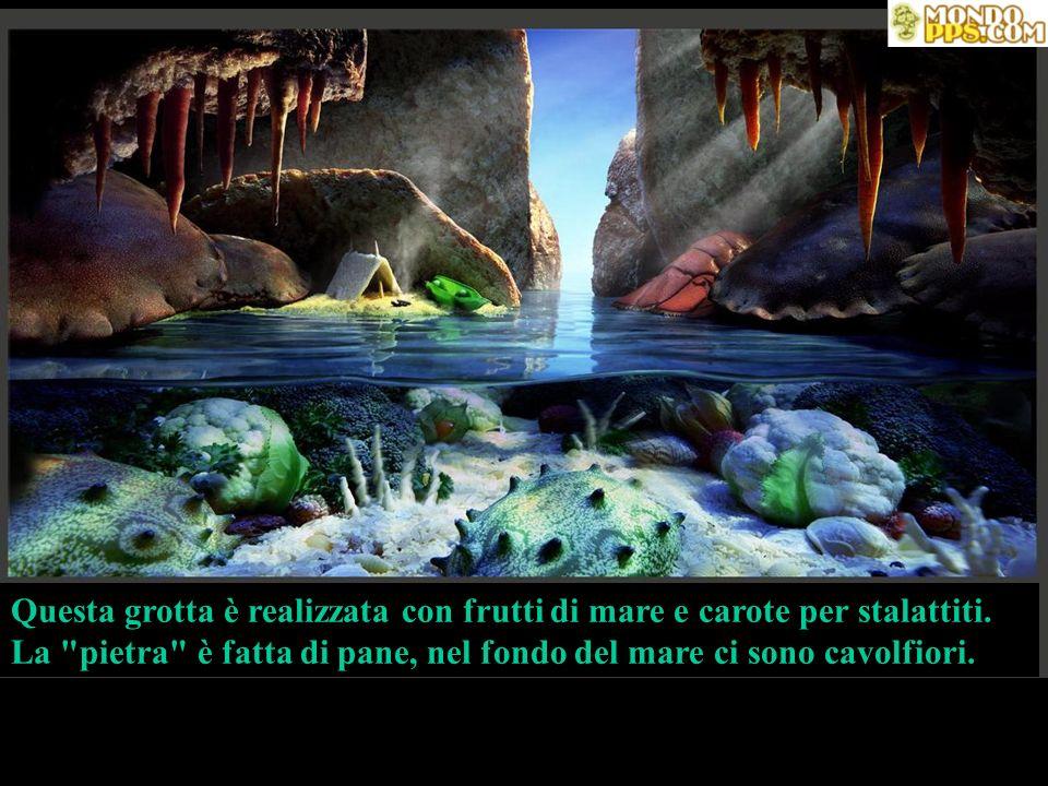 Questa grotta è realizzata con frutti di mare e carote per stalattiti