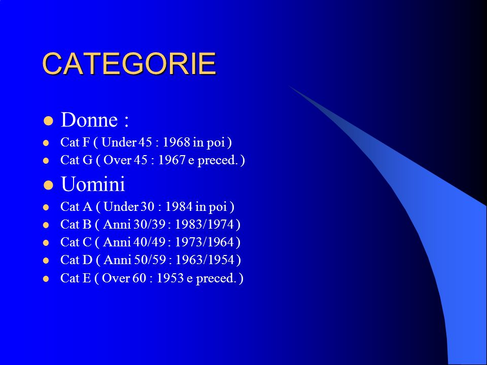 CATEGORIE Donne : Uomini Cat F ( Under 45 : 1968 in poi )