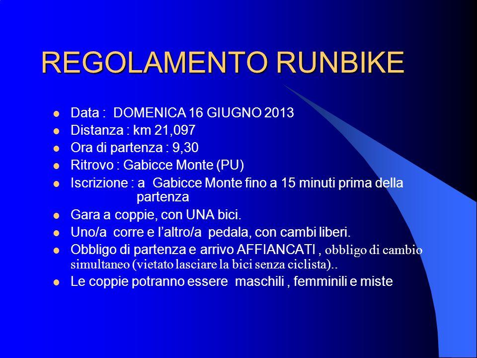 REGOLAMENTO RUNBIKE Data : DOMENICA 16 GIUGNO 2013