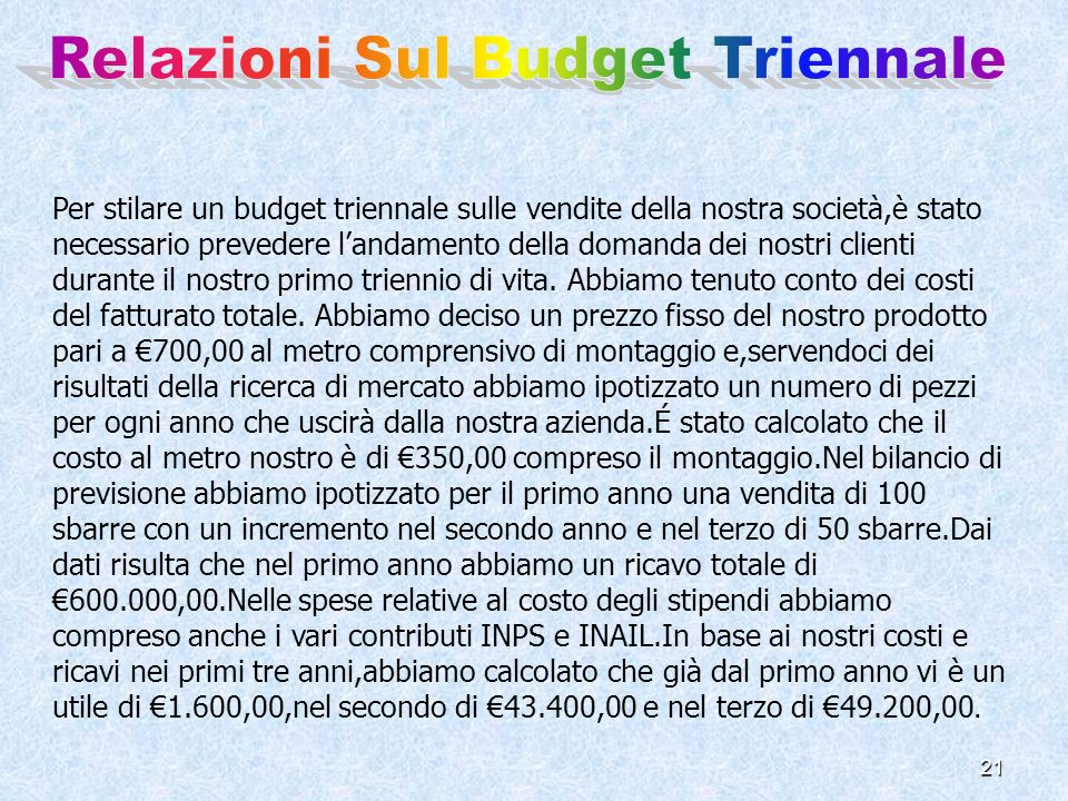 Relazioni Sul Budget Triennale