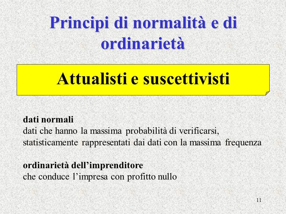 Principi di normalità e di ordinarietà Attualisti e suscettivisti