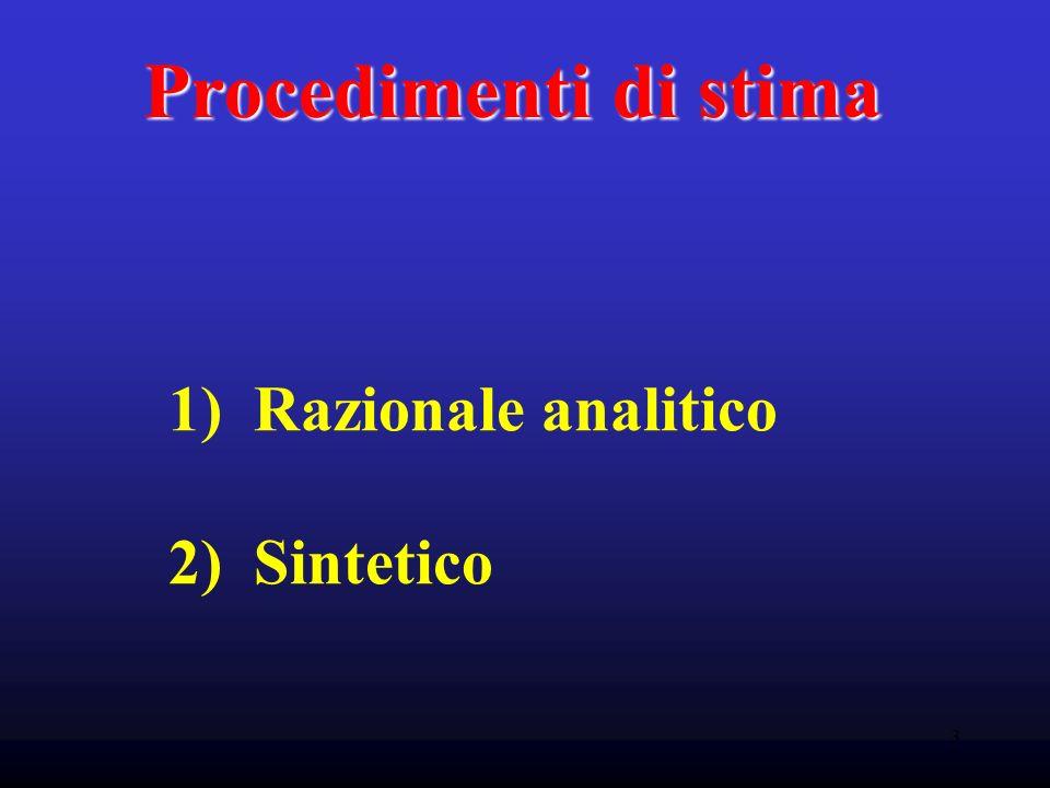 Procedimenti di stima Razionale analitico 2) Sintetico