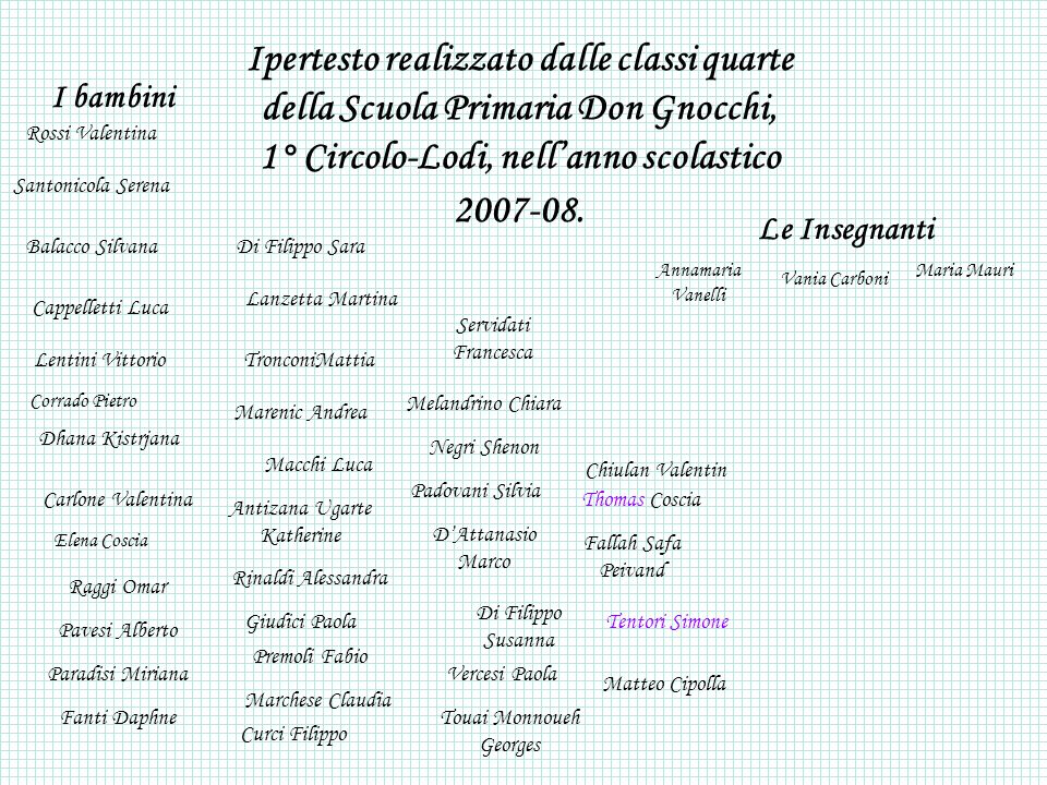 Ipertesto realizzato dalle classi quarte della Scuola Primaria Don Gnocchi, 1° Circolo-Lodi, nell'anno scolastico 2007-08.