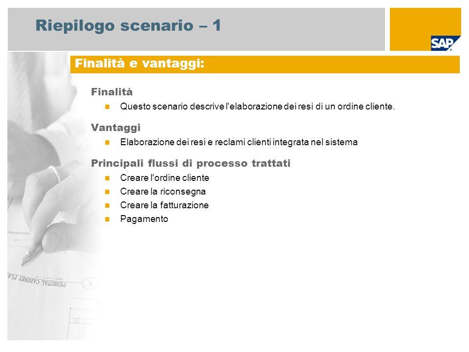 Riepilogo scenario – 1 Finalità e vantaggi: Finalità Vantaggi