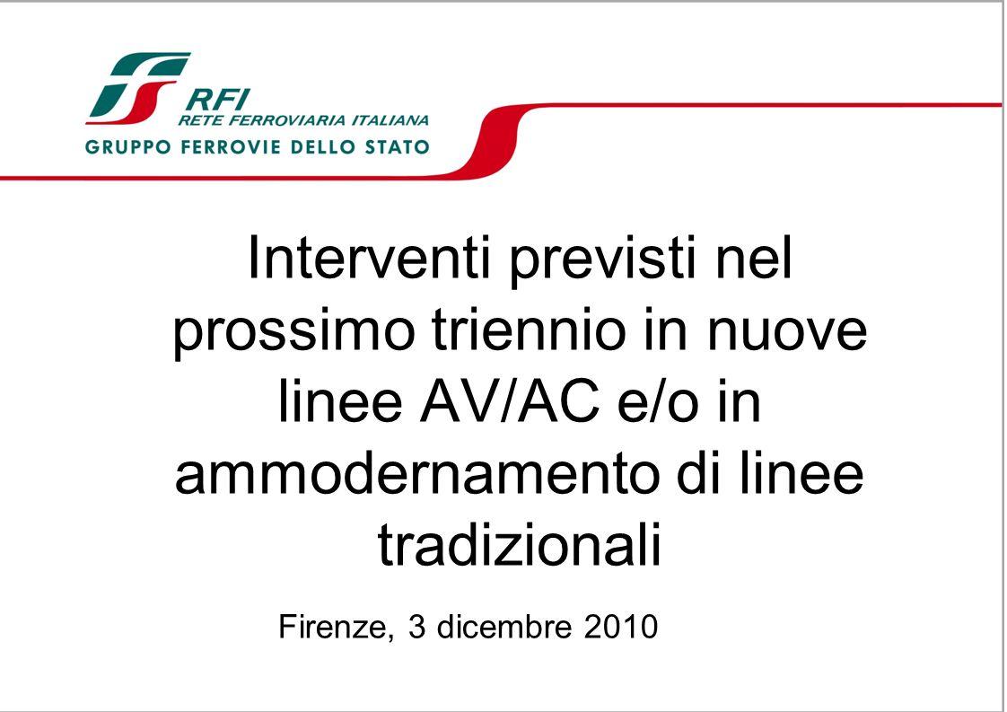 Interventi previsti nel prossimo triennio in nuove linee AV/AC e/o in ammodernamento di linee tradizionali