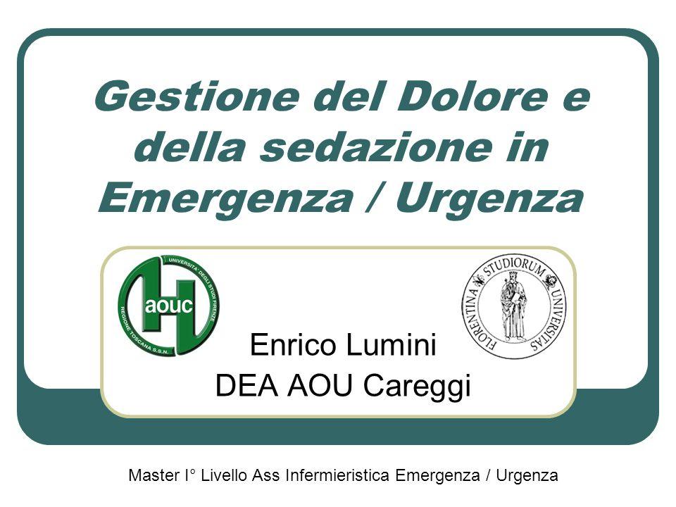 Gestione del Dolore e della sedazione in Emergenza / Urgenza