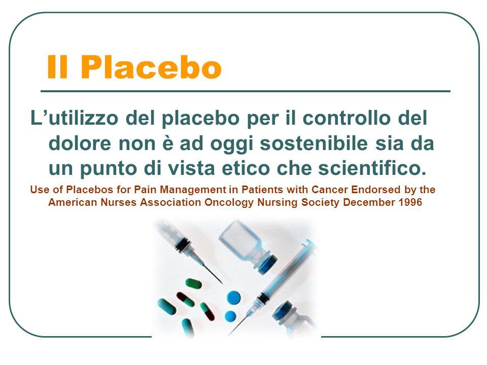 Il Placebo L'utilizzo del placebo per il controllo del dolore non è ad oggi sostenibile sia da un punto di vista etico che scientifico.
