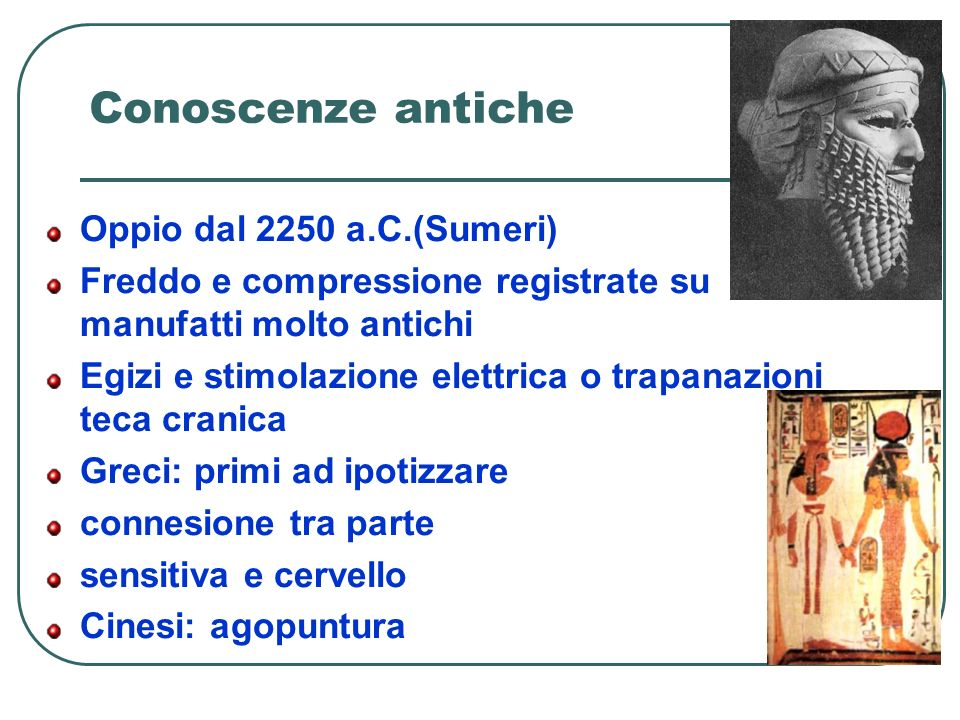 Conoscenze antiche Oppio dal 2250 a.C.(Sumeri)