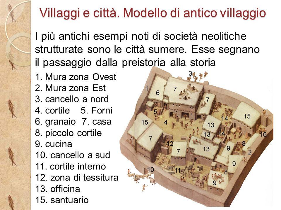 Villaggi e città. Modello di antico villaggio