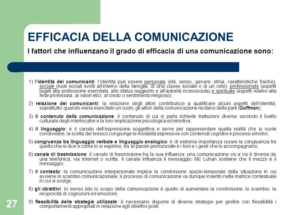 EFFICACIA DELLA COMUNICAZIONE I fattori che influenzano il grado di efficacia di una comunicazione sono: