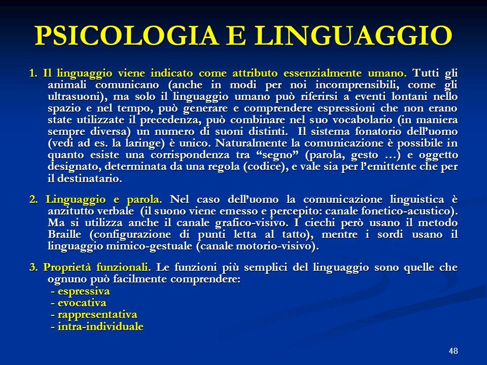 PSICOLOGIA E LINGUAGGIO