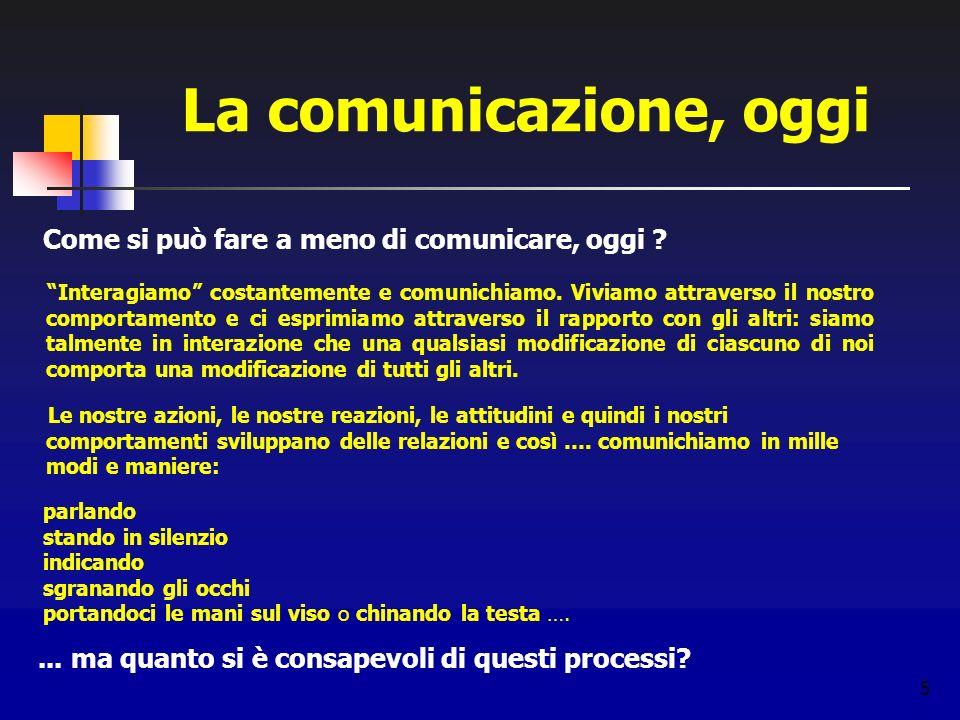 La comunicazione, oggi Come si può fare a meno di comunicare, oggi