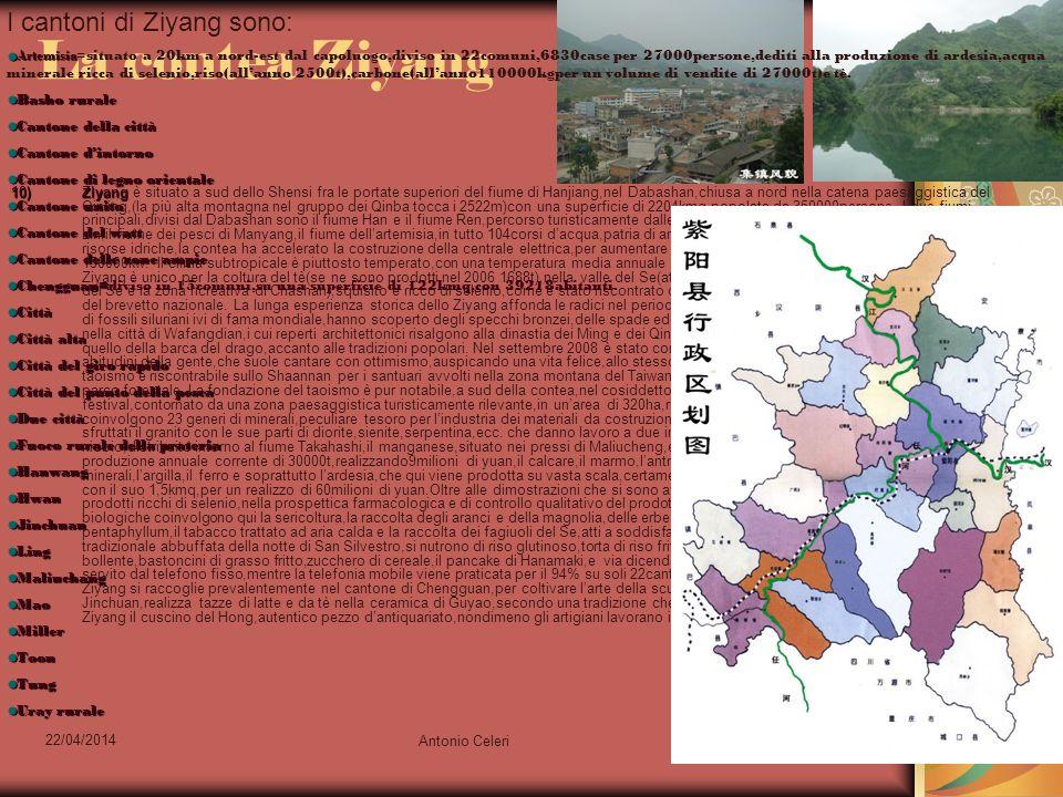 La contea Ziyang I cantoni di Ziyang sono: