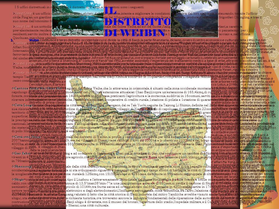 I 5 uffici distrettuali in cui si divide il distretto di Weibin,e i 6 cantoni sono i seguenti: