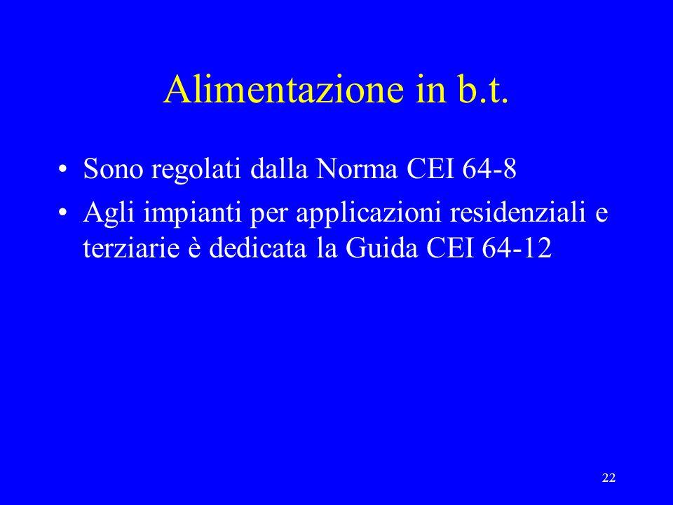 Alimentazione in b.t. Sono regolati dalla Norma CEI 64-8