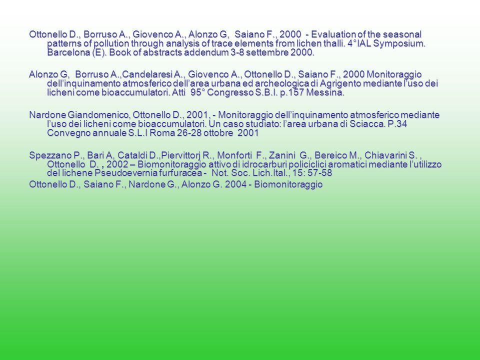 Ottonello D. , Borruso A. , Giovenco A. , Alonzo G, Saiano F