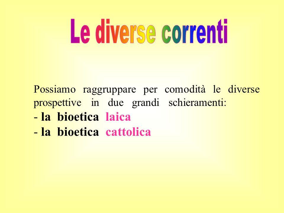 la bioetica laica la bioetica cattolica Le diverse correnti